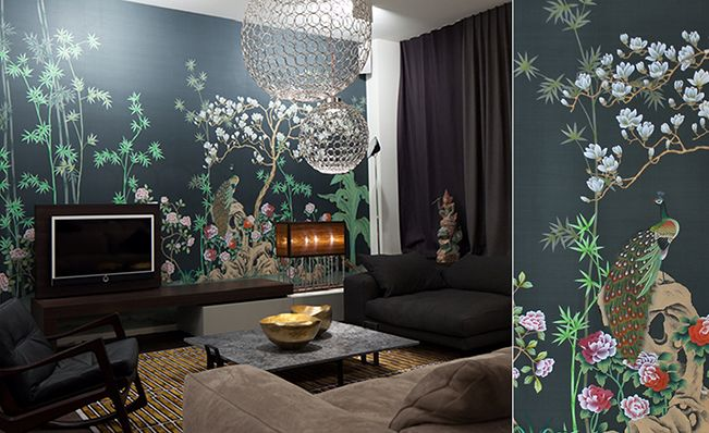 Modern chinoiserie 'Chinese Garden with Peacocks' design from Misha wallpaper, hand painted on Yellow dyed silk.