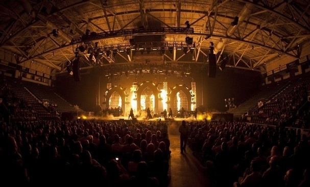 "A scene from Trans-Siberian Orchestra's performance of ""Beethoven's Last Night"" at Germain Arena on Sunday, April 24. The rock opera is a tale of Beethoven's last night on Earth, combining what happened with what might have happened. The progressive rock band is known for its massive light shows and pyrotechnics. (Chris Bradshaw/Special to the Daily News)"