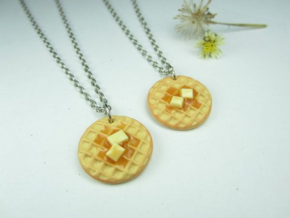 Waffle Necklace Friendship Necklace 2pcs  Food jewelry by fwirl, $15.00