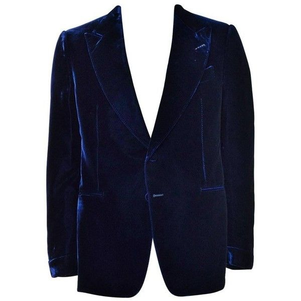 Preowned Tom Ford Navy Shelton Slim Fit Velvet Tuxedo Jacket ($2,500) ❤ liked on Polyvore featuring outerwear, jackets, blazers, blue, tuxedo jackets, blue tuxedo jacket, velvet tuxedo blazer, navy blue jacket, peaked lapel blazer and blue jackets