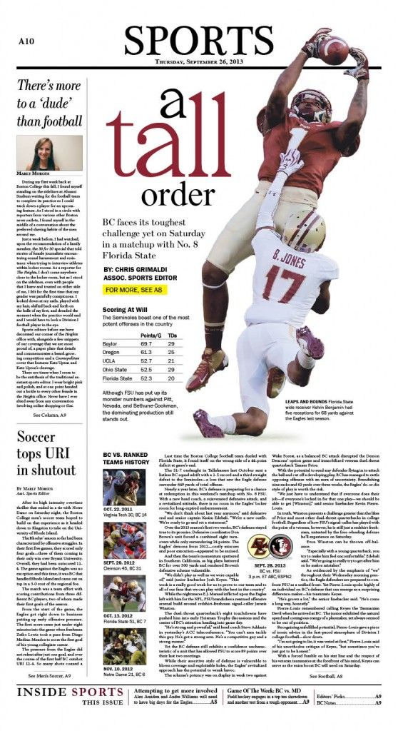 The Heights (Boston College) sports front page 9/26