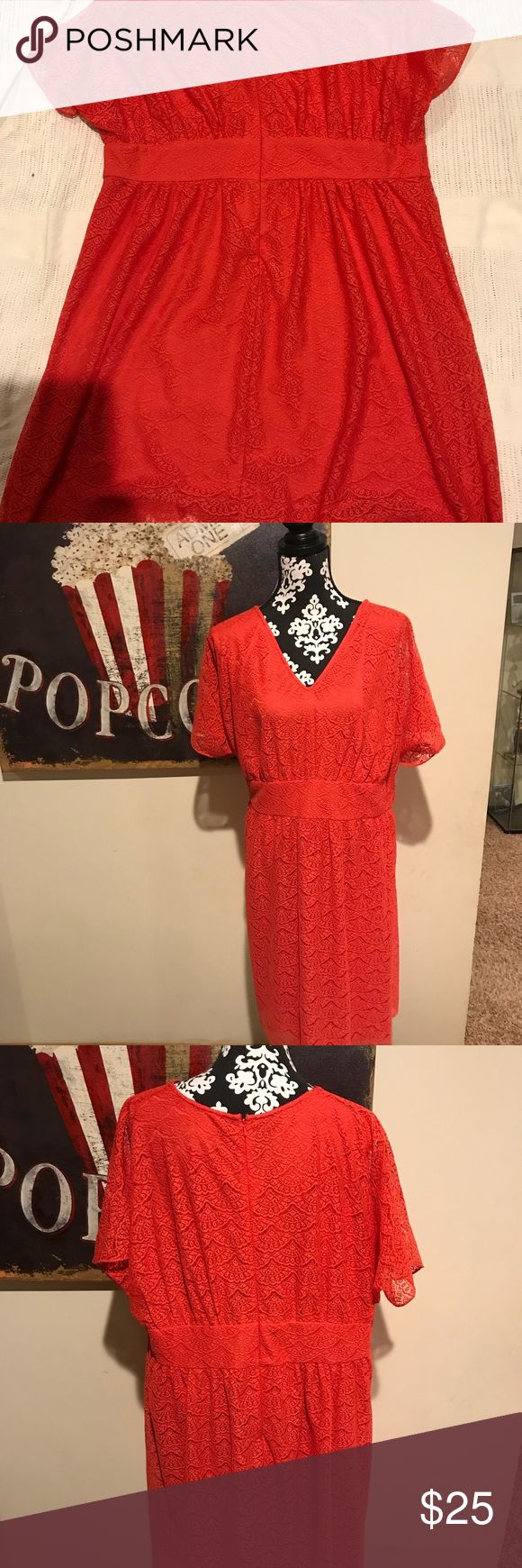 Adrianna Papell Woman Size 22w Dress Adrianna Papell Woman Size 22 dress Empire waist lace overlay 100% polyester  Beautiful orange- coral color Measurements:  Across waist band- 23in Back length 34 in top to bottom  Like new condition- smoke free home Adrianna Papell Dresses Midi