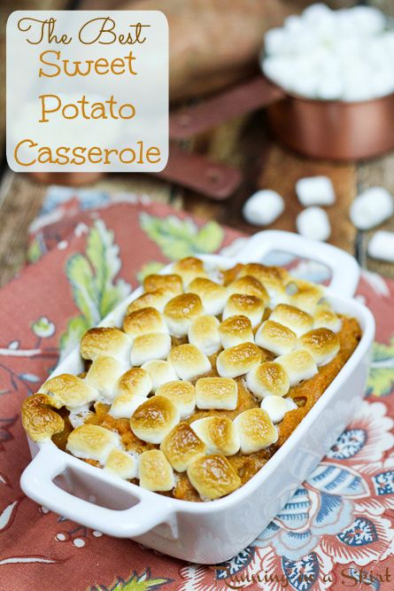 The Best Sweet Potato Casserole with marshmallows- my Mom's famous family recipe!  This is the real deal- sweet with brown sugar and butter!  The best comfort foods for dinners and the perfect addition to Thanksgiving dinner.  A great holiday, fall or Thanksgiving sides. | Running in a Skirt