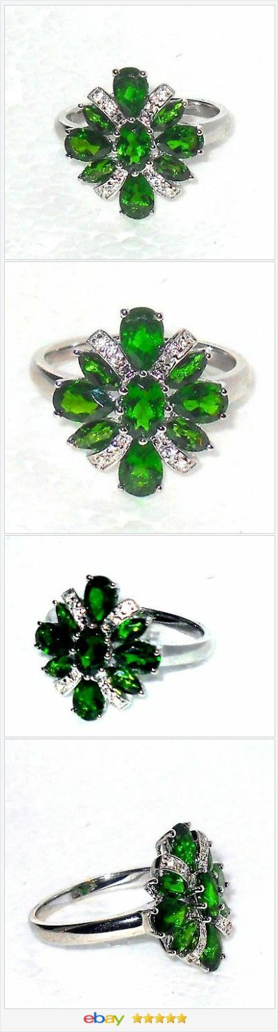 Russian Chrome Diopside white topaz ring 3.00 ctw size 8 Sterling USA Seller #EBAY http://stores.ebay.com/JEWELRY-AND-GIFTS-BY-ALICE-AND-ANN