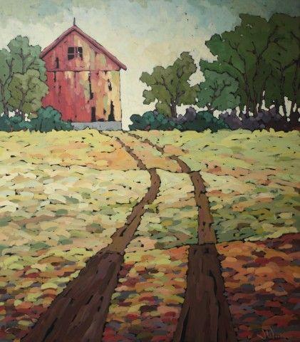 "Jennifer Woodburn ""Path to the Barn"" 48x42in acrylic on canvas"