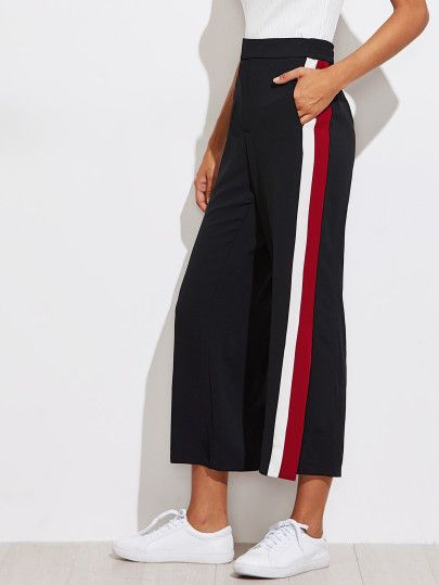 Color Block Tape Side Slit Pants -SheIn(Sheinside)