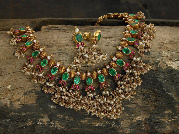 lovely polki necklace with jhumki