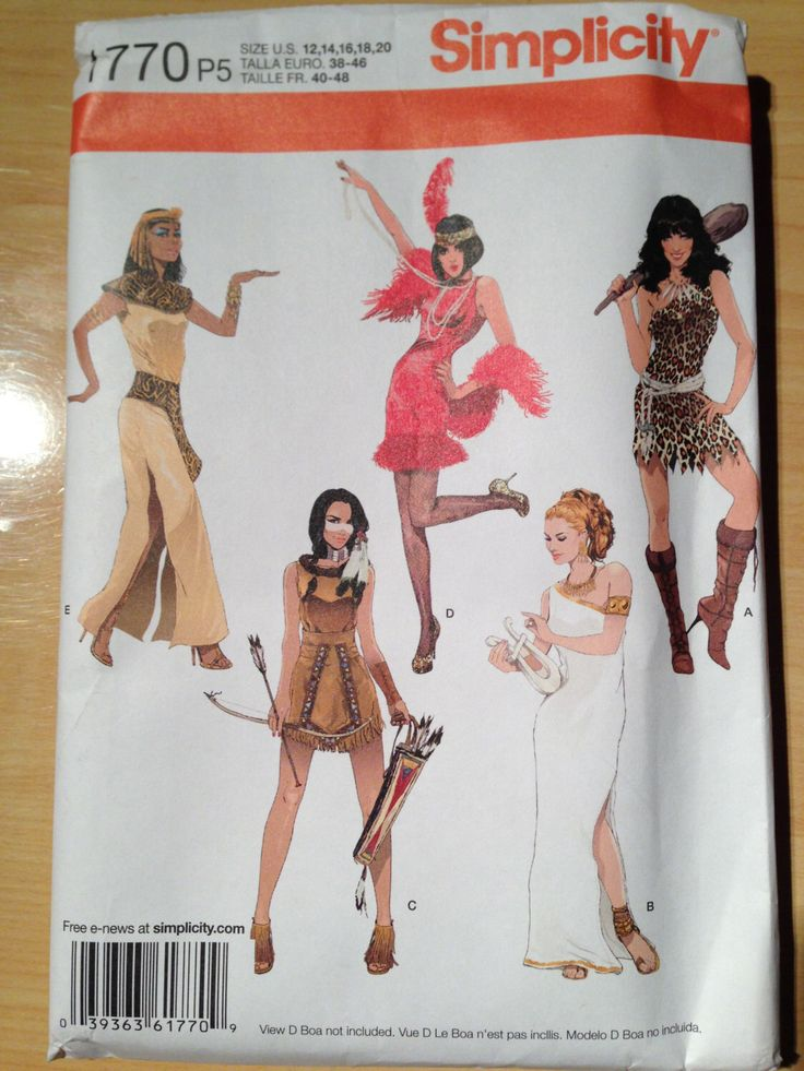 Simplicity 1770 Misses Sexy Cleopatra, Flapper, Barbarian, Indian and Roman Goddess Costume Sewing Pattern  Size 12-20 Uncut by SplashOfLuv on Etsy https://www.etsy.com/listing/166299052/simplicity-1770-misses-sexy-cleopatra