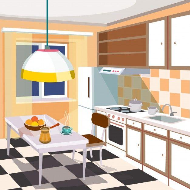 Download Vector Cartoon Illustration Of A Kitchen Interior For Free Kitchen Cartoon Cartoon Illustration Kitchen Interior