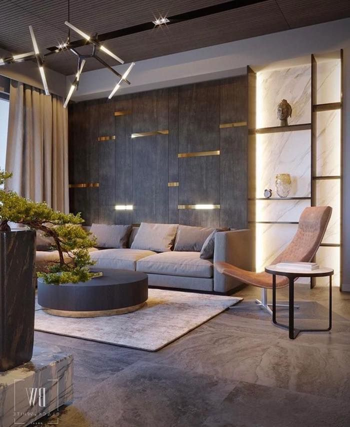 1001 Breathtaking Accent Wall Ideas For Living Room 2019 Grey Tiles And Lights Installation Dining Room Pictures For Walls Grey Dekorasi Rumah Rumah Arsitek