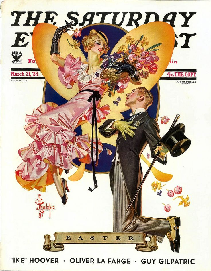 Art Deco Easter Romance illustration by Joseph Christian Leyendecker for the March 31, 1934 cover of The Saturday Evening Post