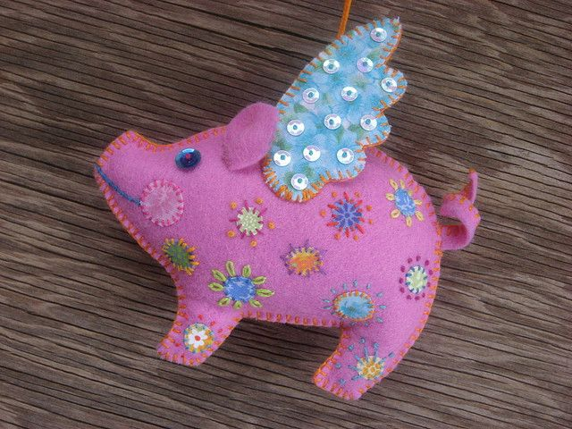 Happy spotted flying pig