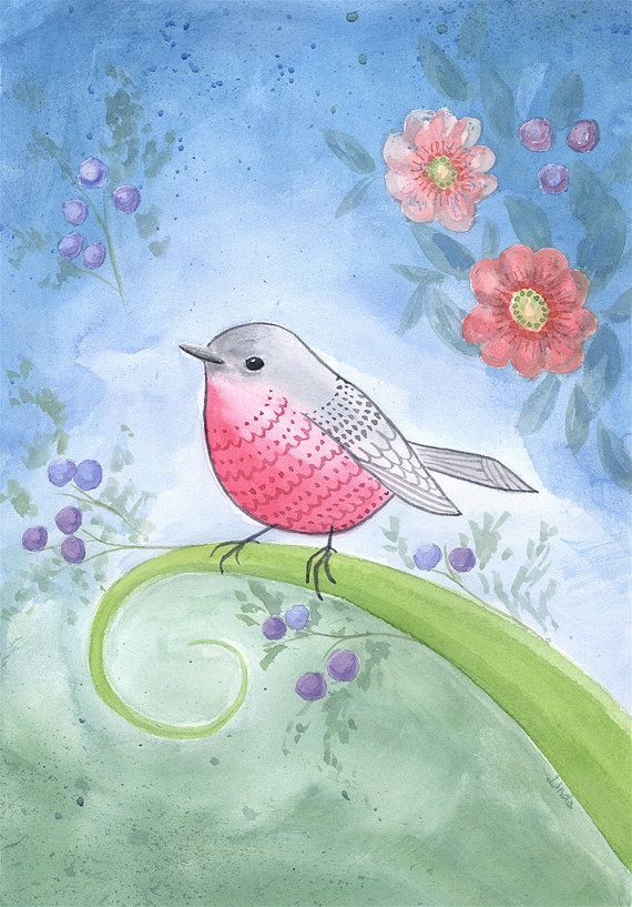 Whimsical Pink Robin watercolour Little Robin by BoodleDesigns