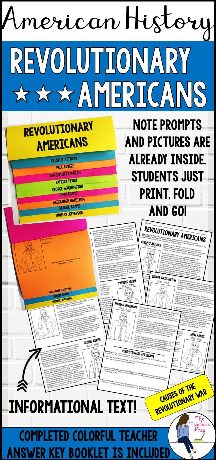 Revolutionary Americans Layered Book Activity And Informational Text Informational Text Informative Book Activities