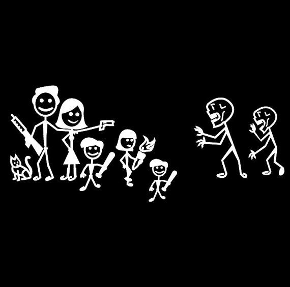 this is a vinyl decal for the car window. Customize the characters and weapons for your family.  You can purchase it herehttps://www.etsy.com/listing/125092818/zombie-hunter-family-sticker-decals?ref=shop_home_feat