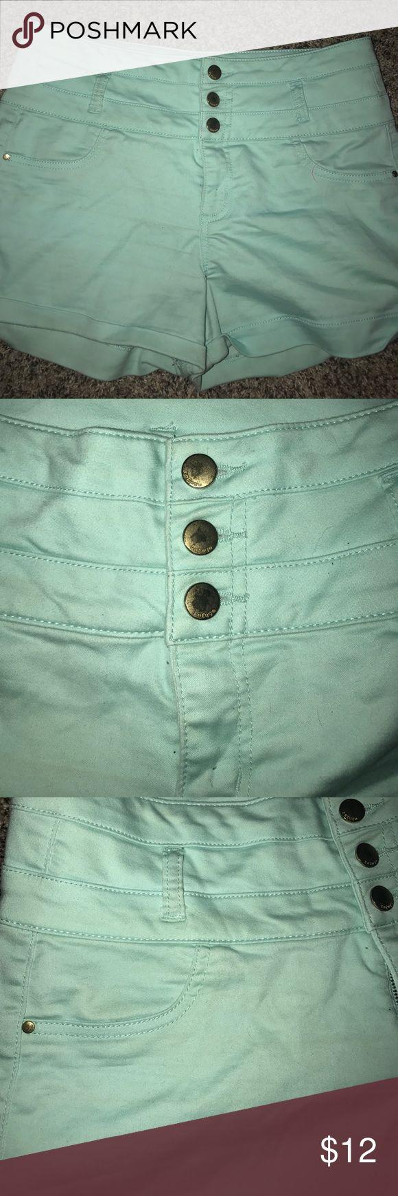 aqua shorts never worn aqua jean shorts Charlotte Russe Shorts Jean Shorts