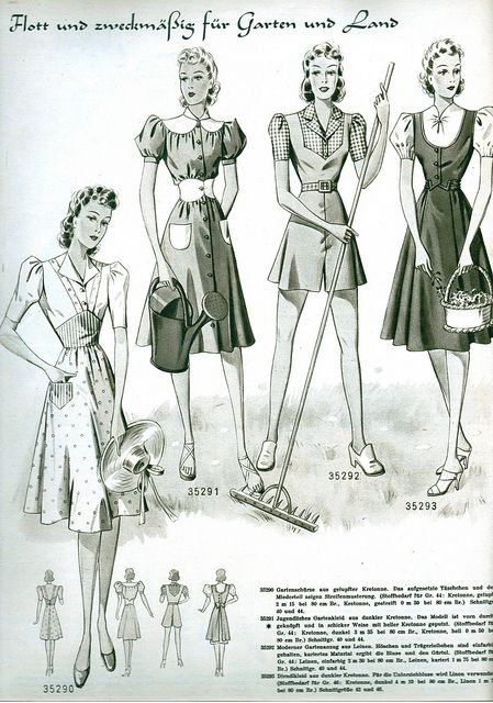 (¯`'•.ೋ…   Vintage Fashion from Wiener Bunte Mode 1940 1940s German Pattern Magazine...Also to take note, in Germany, this is the time of the Nazi Regime.
