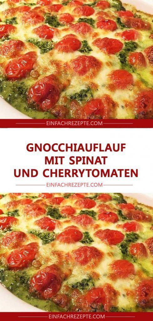 Gnocchi-Auflauf mit Spinat und Kirschtomaten 😍 😍 😍   – Lecker