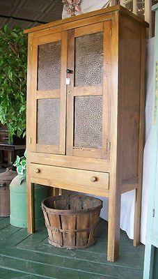 Antique 1860's Primitive Farm Built Punch Tin Pie Safe Jelly Cupboard in Antiques, Primitives | eBay