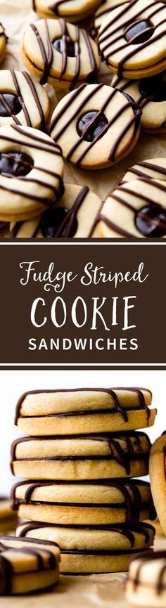 Striped fudge cookie sandwiches! Buttery sugar cookies with a soft and thick chocolate ganache center and a drizzle of chocolate on top! Recipe on sallysbakingaddiction.com