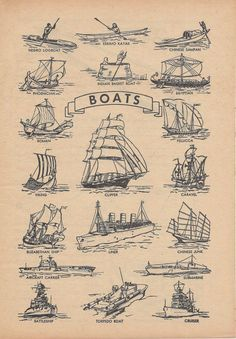 Boats, Ships, Sailing, Nautical, Vintage Illustration, 1940s, Double Sided Print, Bowling