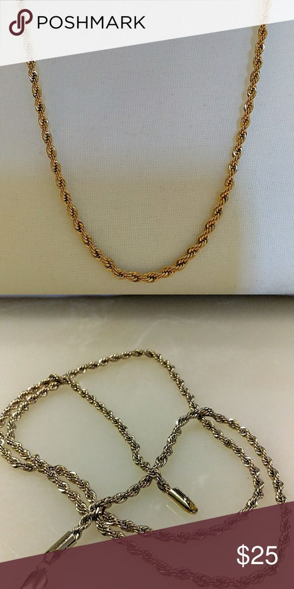 14ktgf Brazilian rope necklace Made from 14 karat gold and gold field meaning that it is 15 to 25 times thicker than gold plating and unlike gold plating it is mechanically bonded to silver or some base metal giving it a lifespan of 10 to 30 years or a lifetime if taken care of Google for more details Accessories Jewelry