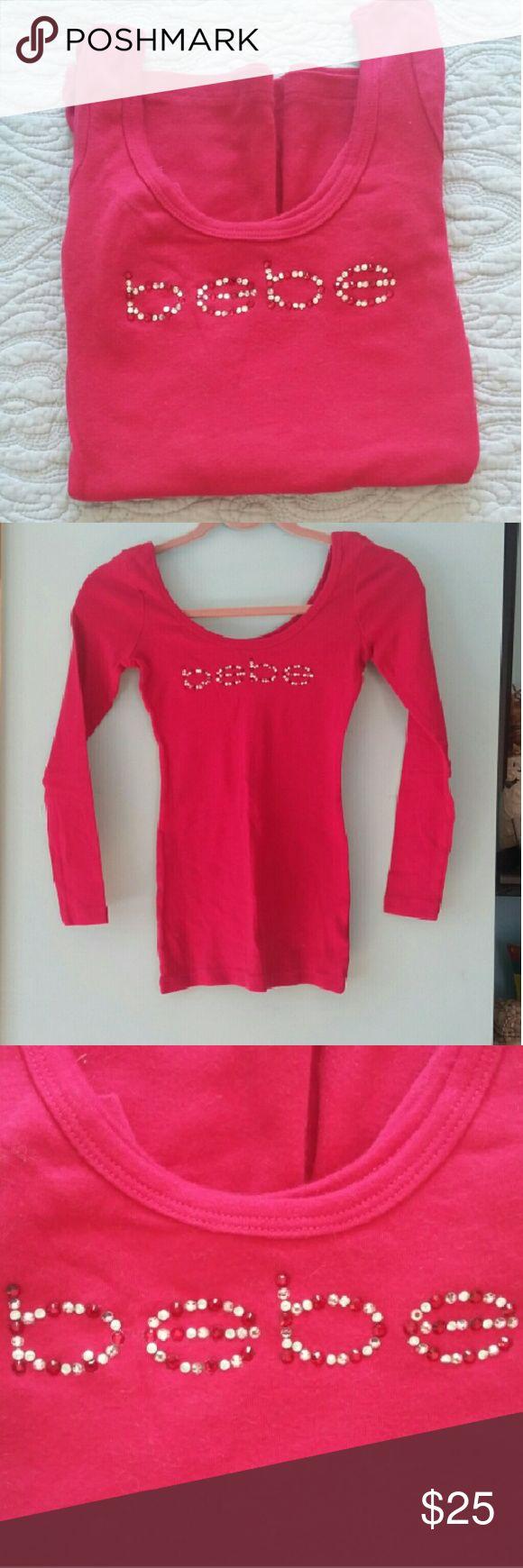 Bebe red  long sleeve top Logo red long sleeve top bebe Tops Tees - Long Sleeve