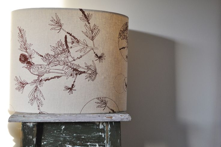 'wattle bird in the bottle brush' (table) Lampshade (C1) - hand printed on eco fabric with water-based inks. To find out and more and to purchase my products visit www.pinchriver.co... (formerly stilelemente) - All designs are copyright Pinch River / Gabriella Tagliapietra