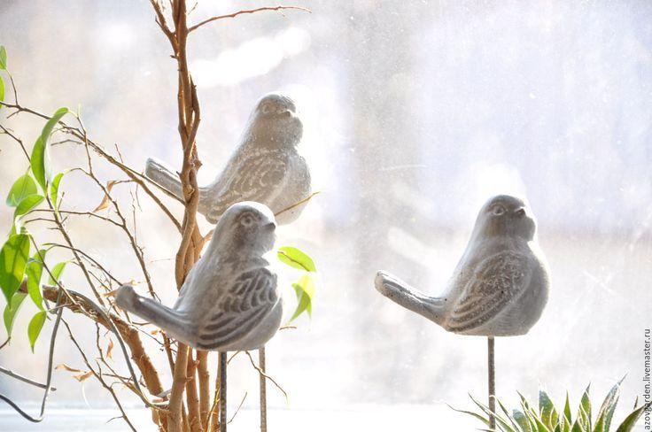 Купить Статуэтка Птицы из бетона Прованс Винтаж для дома и сада - интерьерное украшение, настольный декор