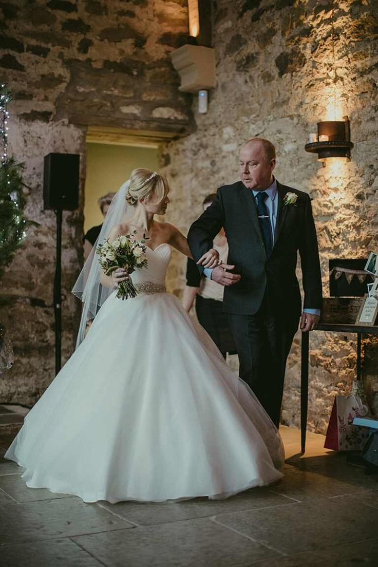 Jenna on her wedding day at Healey Barn in her princess Eddy K wedding dress, Northumberland. Photography by Chris Randles