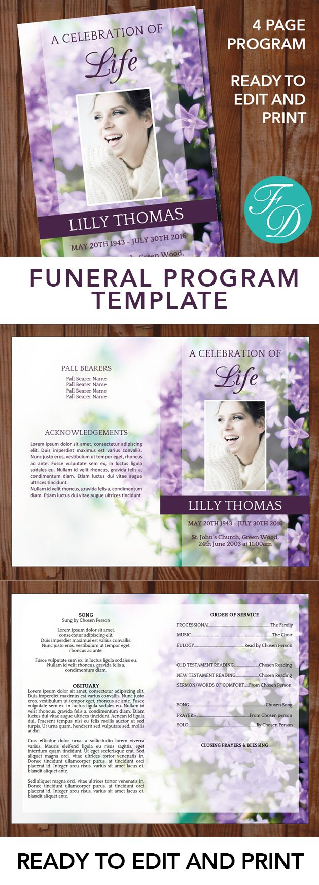 Purple Floral Printable Funeral program ready to edit & print. Simply purchase your funeral templates, download, edit with Microsoft Word and print. #obituarytemplate #memorialprogram #funeralprograms #funeraltemplate #printableprogram #celebrationoflife #funeralprogamtemplates