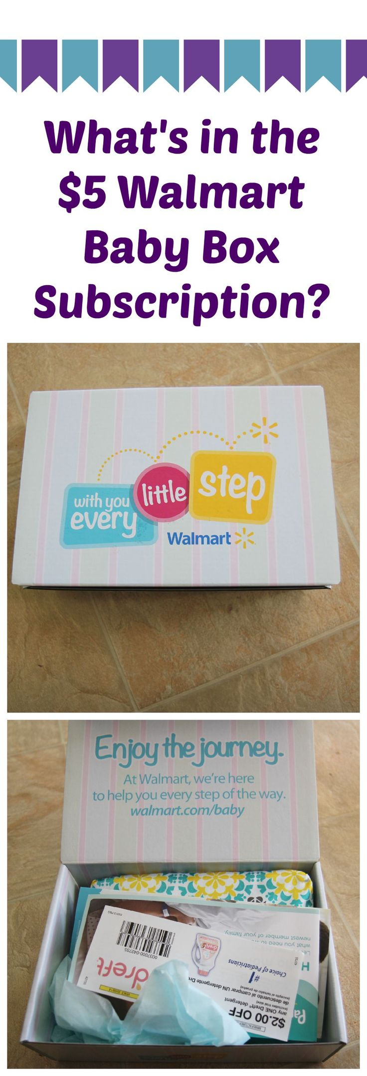 For just $5, you can get this baby box of goodies from Walmart with free shipping! Check out what came inside ours! (Available for 2nd and 3rd trimesters, as well as newborn, infant, and toddlers.)