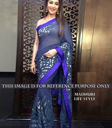 Buy Navy blue designer saree with zari work  madhuri-dixit-saree online