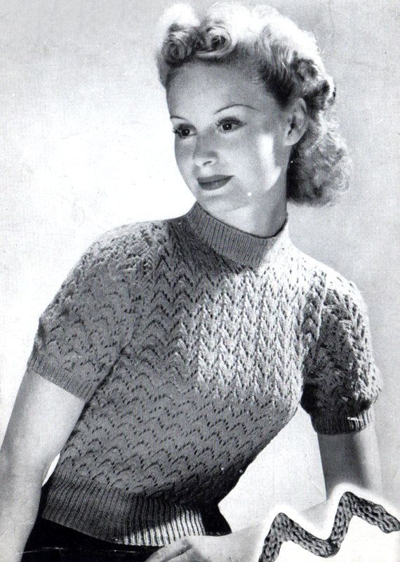 Vintage Women's Lacy Jumper 1940's knitting by VintageKnitLibrary #knitspirationpdx
