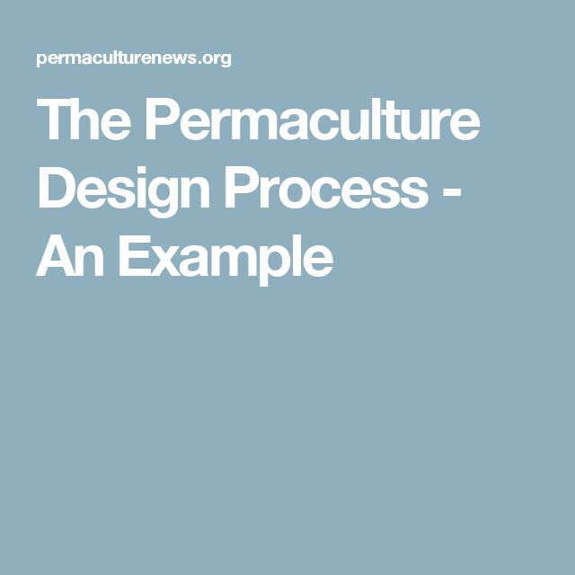 The Permaculture Design Process - An Example