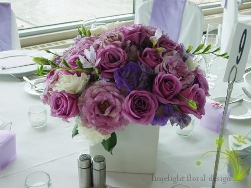 purple flowers centerpiece