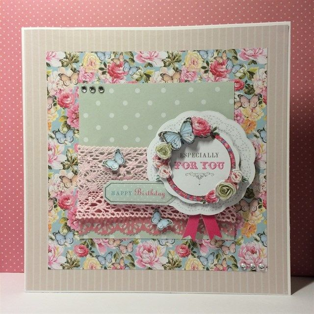 Handmade 8x8 Birthday Card made with the Papermania Bellissima and Little Meow collections.