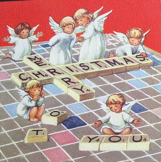 Vintage Christmas Card, Angels Playing Scrabble!