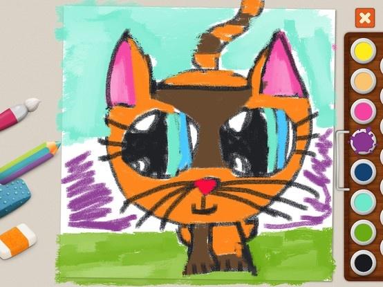 """Free artwork"" - Milena (age 10) #memollow #painting #kids #kitty #cat"