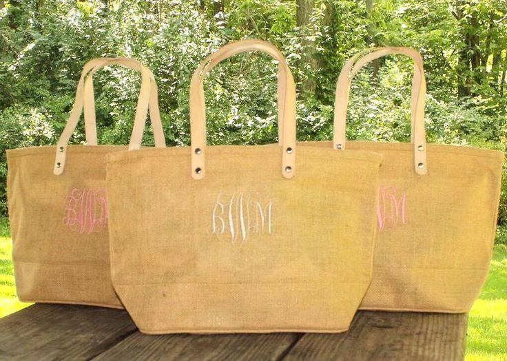Personalized Natural Burlap totes - Monogram Jute Tote - Summer Handbag Vacation Bags - bridesmaid jute tote - cruise jute tote by MJMonograms on Etsy