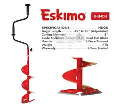 Eskimo 8 Inch Ice Fishing Auger  Eskimo HD08  Ocean State Tackle sells Ice Fishing Augers  RI's Ice Auger Shop Providence RI 02904