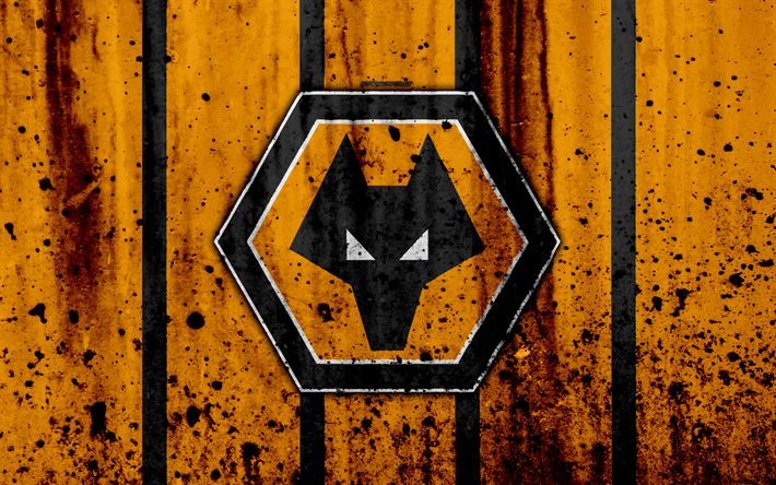 Download wallpapers 4k, FC Wolverhampton Wanderers, grunge, EFL Championship, art, soccer, football club, England, Wolverhampton Wanderers, logo, stone texture, Wolverhampton Wanderers FC