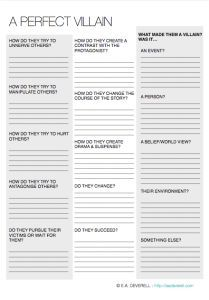 Creative Writing Worksheet – A Perfect Villain (PDF) There's nothing quite like a really memorable villain to add drama to a story! Use this worksheet to craft the perfect villain. P.S. You might also like the Love Your Antagonist worksheet!