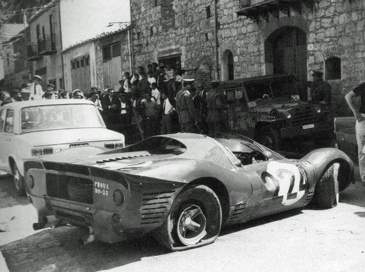 1967 Targa Florio - Ferrar 330 P4 Nino Vaccarella crashed the car.
