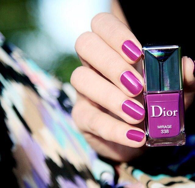 Magenta nails with Dior nail polish in Mirage