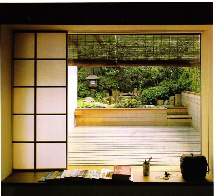 """Japanese outlook at veranda and garden. From the book """"A japanese touch for your home"""" by Koji Yagi"""