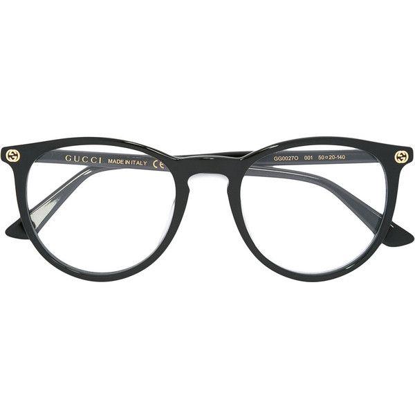 Gucci Eyewear circular glasses (£180) ❤ liked on Polyvore featuring accessories, eyewear, eyeglasses, black, circular eyeglasses, gucci, gucci eyewear, gucci eyeglasses and circle eyeglasses