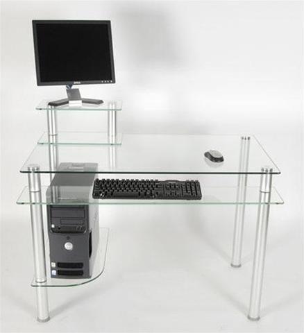 43 Modern Clear Glass Computer Desk With Keyboard Shelf Glass