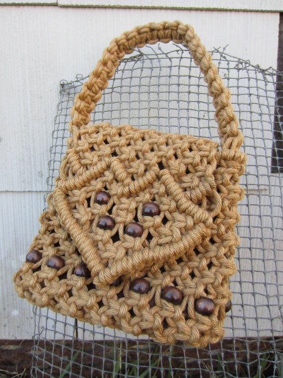 70s Handmade Macrame Rope Heart Purse w/ Wooden Pearls // Vintage Woven Bohemian Handbag