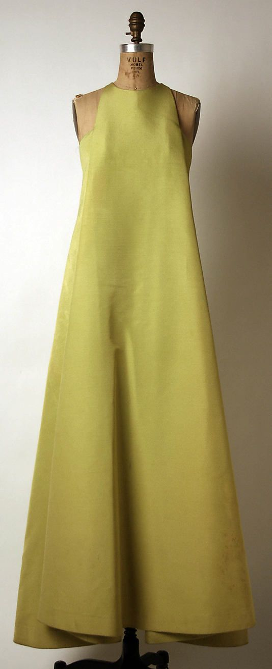 madame gres wool mid 1960s evening dress.
